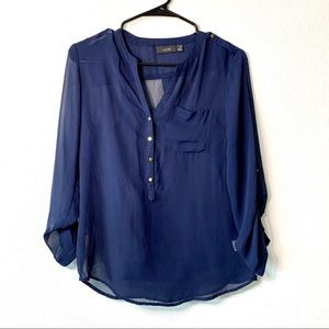 Apt 9 navy blue button down camisole sheer blouse